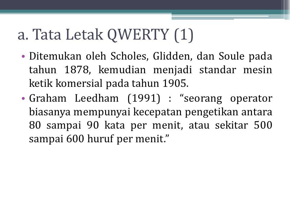 a. Tata Letak QWERTY (1) Ditemukan oleh Scholes, Glidden, dan Soule pada tahun 1878, kemudian menjadi standar mesin ketik komersial pada tahun 1905. G