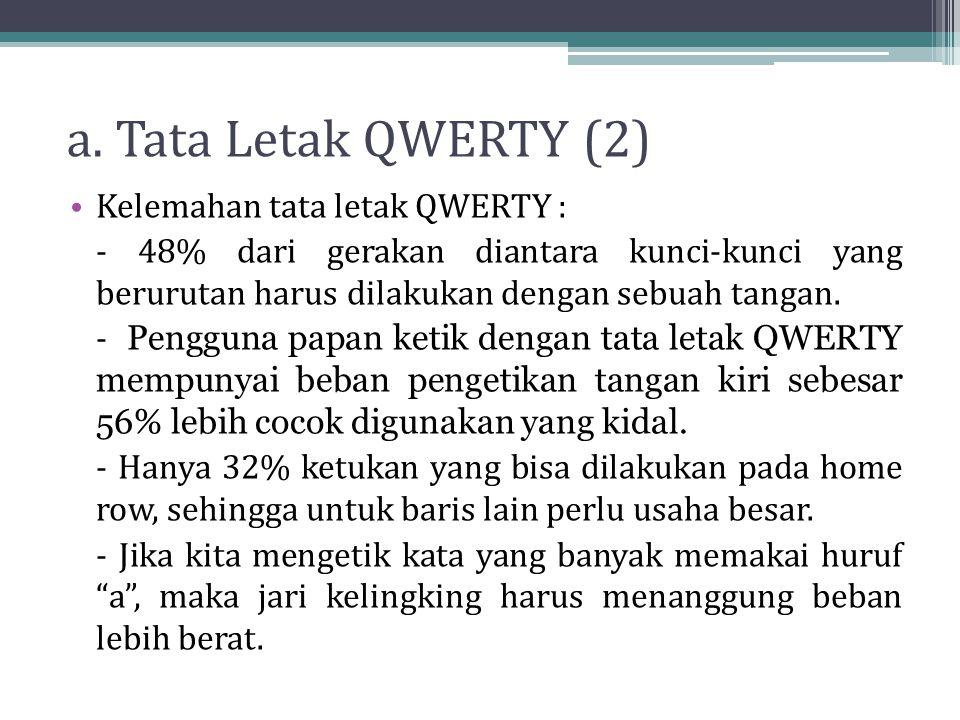 a. Tata Letak QWERTY (2) Kelemahan tata letak QWERTY : - 48% dari gerakan diantara kunci-kunci yang berurutan harus dilakukan dengan sebuah tangan. -