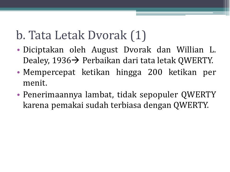 b. Tata Letak Dvorak (1) Diciptakan oleh August Dvorak dan Willian L. Dealey, 1936  Perbaikan dari tata letak QWERTY. Mempercepat ketikan hingga 200