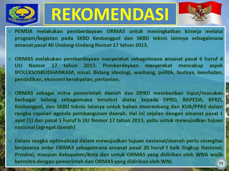 REKOMENDASI o PEMDA melakukan pemberdayaan ORMAS untuk meningkatkan kinerja melalui program/kegiatan pada SKBD Kesbangpol dan SKBD teknis lainnya sebagaimana amanat pasal 40 Undang-Undang Nomor 17 tahun 2013.