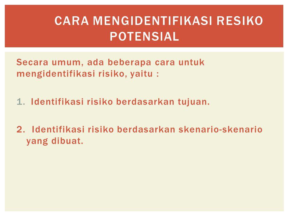 Secara umum, ada beberapa cara untuk mengidentifikasi risiko, yaitu : 1.Identifikasi risiko berdasarkan tujuan. 2.Identifikasi risiko berdasarkan sken