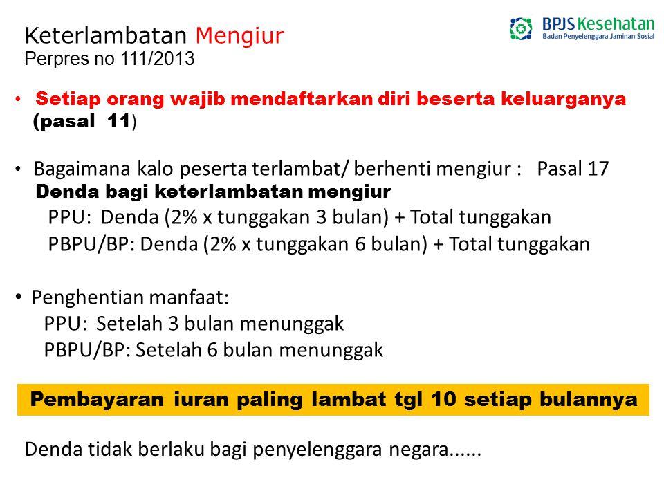 Setiap orang wajib mendaftarkan diri beserta keluarganya (pasal 11 ) Bagaimana kalo peserta terlambat/ berhenti mengiur : Pasal 17 Denda bagi keterlam