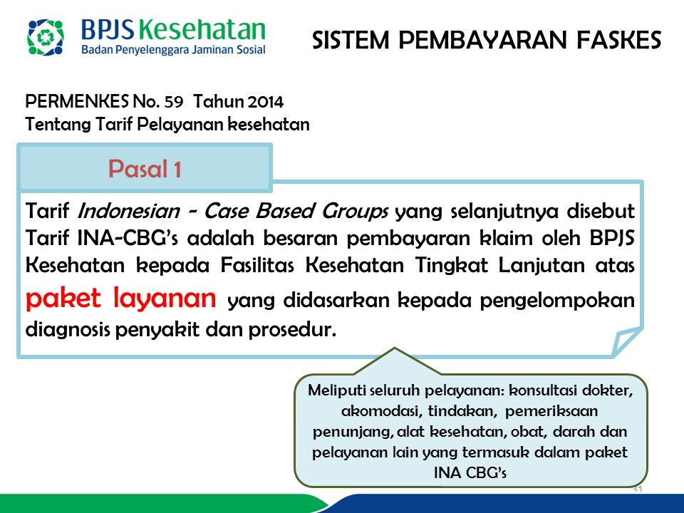 PERMENKES No. 59 Tahun 2014 Tentang Tarif Pelayanan kesehatan SISTEM PEMBAYARAN FASKES Tarif Indonesian - Case Based Groups yang selanjutnya disebut T