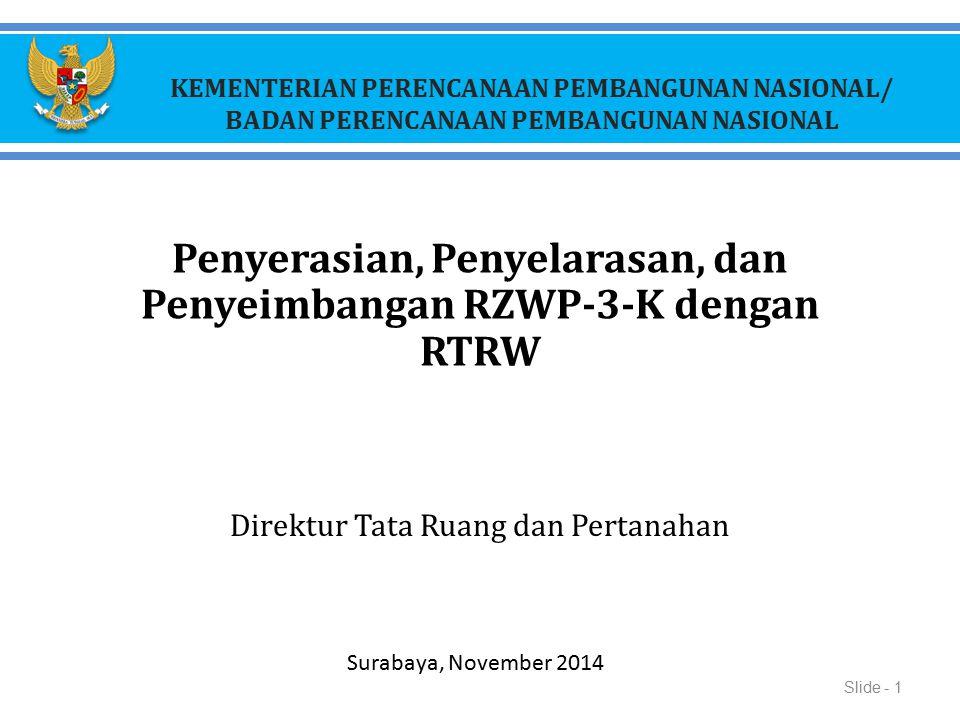 KEMENTERIAN PERENCANAAN PEMBANGUNAN NASIONAL/ BADAN PERENCANAAN PEMBANGUNAN NASIONAL Penyerasian, Penyelarasan, dan Penyeimbangan RZWP-3-K dengan RTRW
