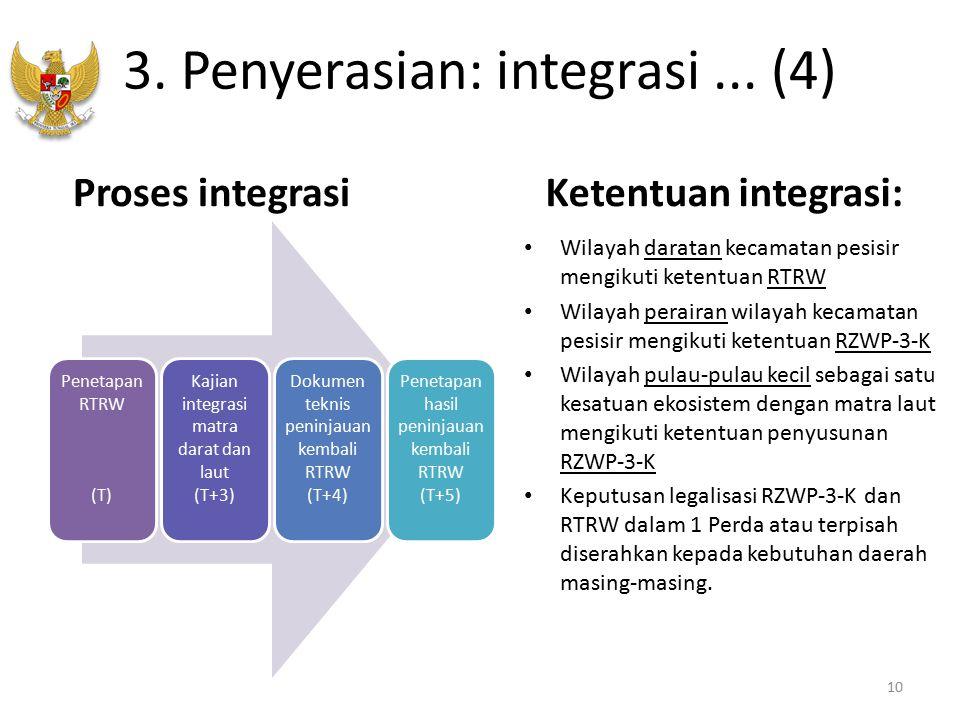 3. Penyerasian: integrasi... (4) Penetapan RTRW (T) Kajian integrasi matra darat dan laut (T+3) Dokumen teknis peninjauan kembali RTRW (T+4) Penetapan