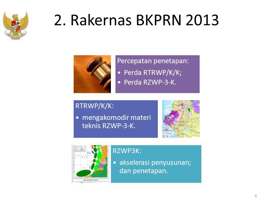 2. Rakernas BKPRN 2013 Percepatan penetapan: Perda RTRWP/K/K; Perda RZWP-3-K. RTRWP/K/K: mengakomodir materi teknis RZWP-3-K. RZWP3K: akselerasi penyu