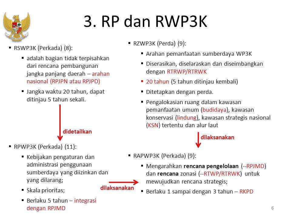 3. RP dan RWP3K 6  RZWP3K (Perda) (9):  Arahan pemanfaatan sumberdaya WP3K  Diserasikan, diselaraskan dan diseimbangkan dengan RTRWP/RTRWK  20 tah