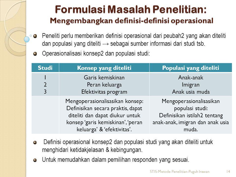 Formulasi Masalah Penelitian: Mengembangkan definisi-definisi operasional Peneliti perlu memberikan definisi operasional dari peubah2 yang akan diteli