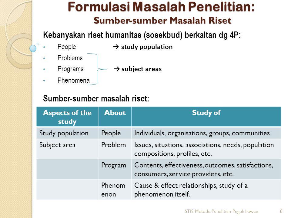 Formulasi Masalah Penelitian: Sumber-sumber Masalah Riset Kebanyakan riset humanitas (sosekbud) berkaitan dg 4P: People → study population Problems Pr