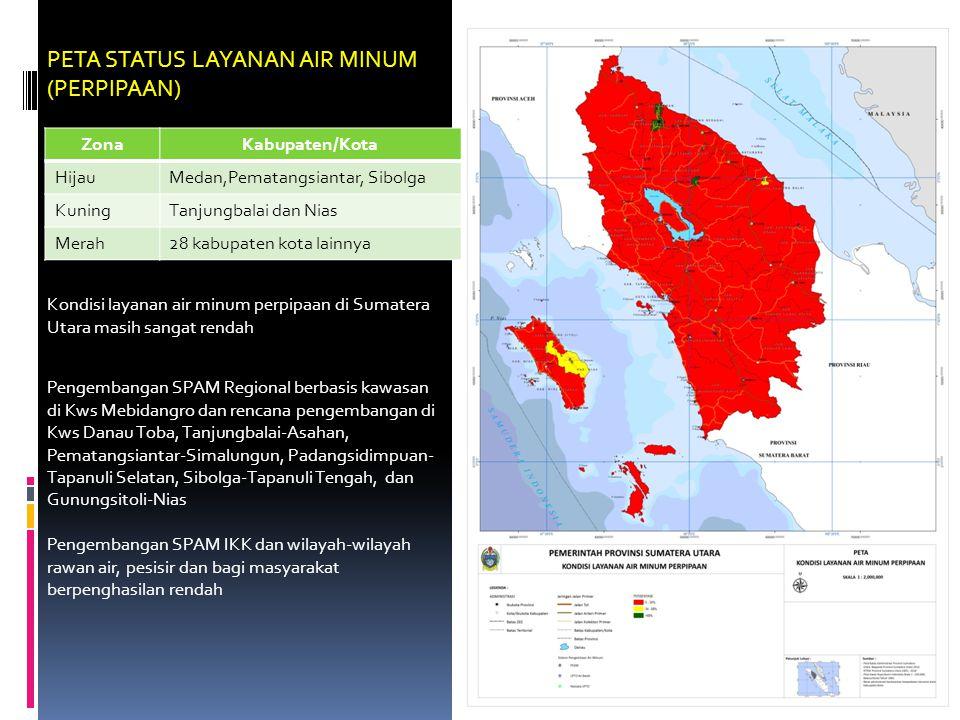 PETA STATUS LAYANAN AIR MINUM (PERPIPAAN) ZonaKabupaten/Kota HijauMedan,Pematangsiantar, Sibolga KuningTanjungbalai dan Nias Merah28 kabupaten kota lainnya Kondisi layanan air minum perpipaan di Sumatera Utara masih sangat rendah Pengembangan SPAM Regional berbasis kawasan di Kws Mebidangro dan rencana pengembangan di Kws Danau Toba, Tanjungbalai-Asahan, Pematangsiantar-Simalungun, Padangsidimpuan- Tapanuli Selatan, Sibolga-Tapanuli Tengah, dan Gunungsitoli-Nias Pengembangan SPAM IKK dan wilayah-wilayah rawan air, pesisir dan bagi masyarakat berpenghasilan rendah