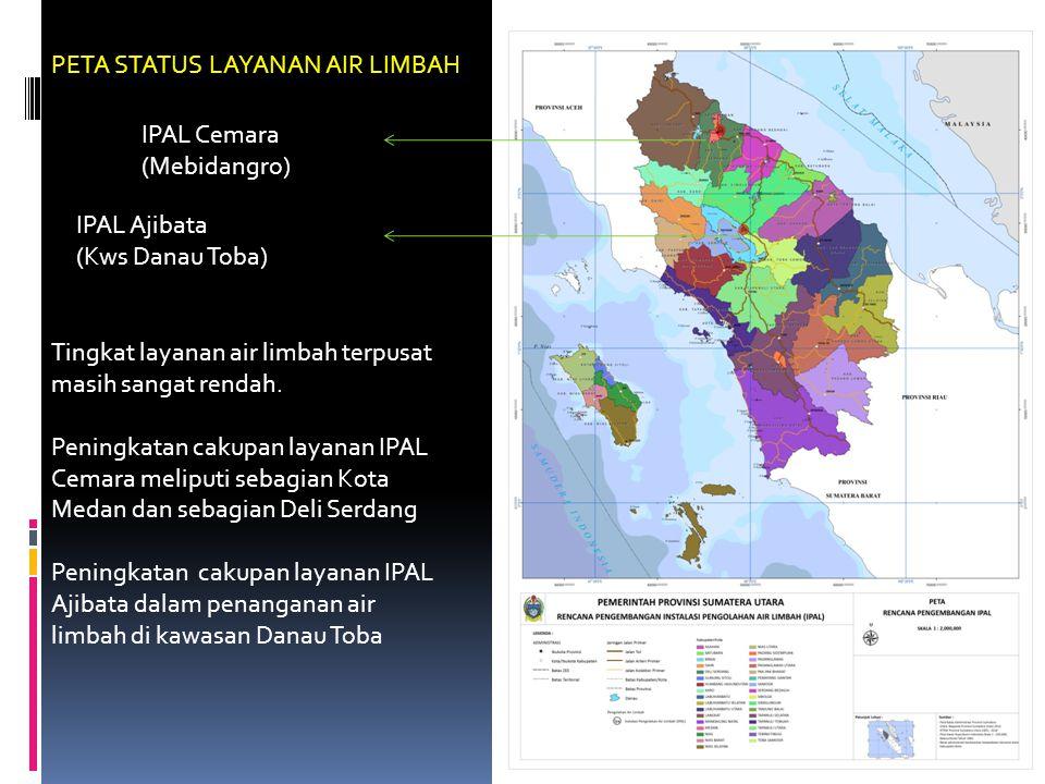 PETA STATUS LAYANAN AIR LIMBAH IPAL Cemara (Mebidangro) IPAL Ajibata (Kws Danau Toba) Tingkat layanan air limbah terpusat masih sangat rendah. Peningk