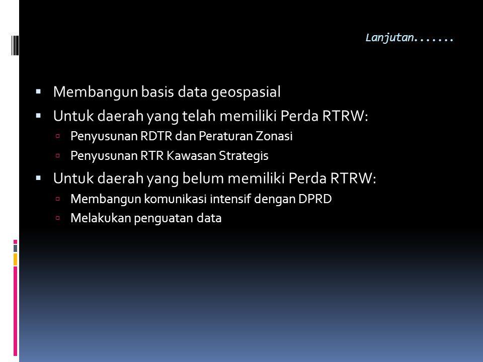 Lanjutan.......  Membangun basis data geospasial  Untuk daerah yang telah memiliki Perda RTRW:  Penyusunan RDTR dan Peraturan Zonasi  Penyusunan R