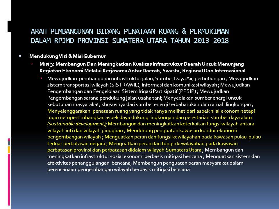 ARAH PEMBANGUNAN BIDANG PENATAAN RUANG & PERMUKIMAN DALAM RPJMD PROVINSI SUMATERA UTARA TAHUN 2013-2018  Mendukung Visi & Misi Gubernur  Misi 3: Mem