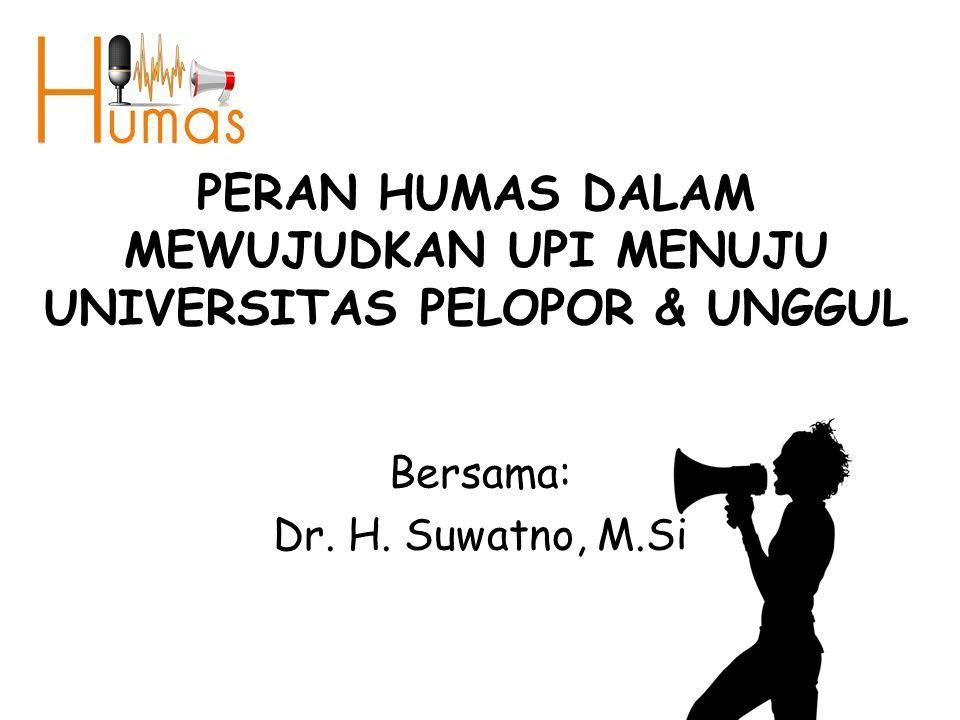 PERAN HUMAS DALAM MEWUJUDKAN UPI MENUJU UNIVERSITAS PELOPOR & UNGGUL Bersama: Dr. H. Suwatno, M.Si
