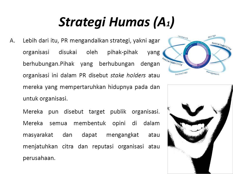 Strategi Humas (A 1 ) A.Lebih dari itu, PR mengandalkan strategi, yakni agar organisasi disukai oleh pihak-pihak yang berhubungan.Pihak yang berhubung