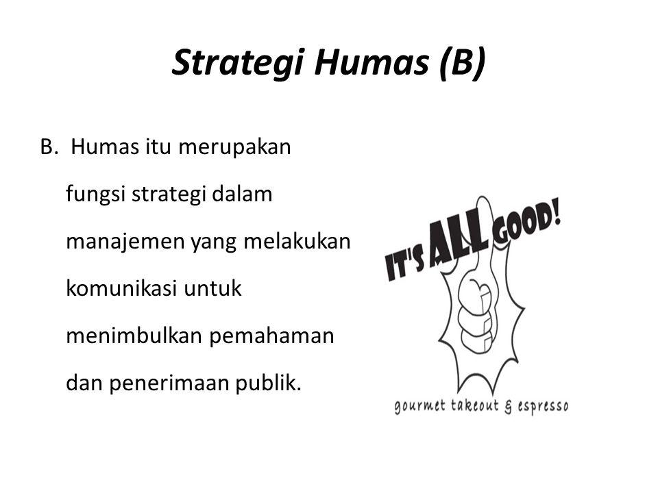 Strategi Humas (B) B. Humas itu merupakan fungsi strategi dalam manajemen yang melakukan komunikasi untuk menimbulkan pemahaman dan penerimaan publik.