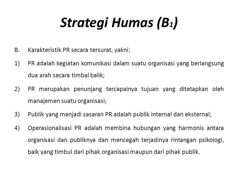 Strategi Humas (B 1 ) B.Karakteristik PR secara tersurat, yakni: 1) PR adalah kegiatan komunikasi dalam suatu organisasi yang berlangsung dua arah sec