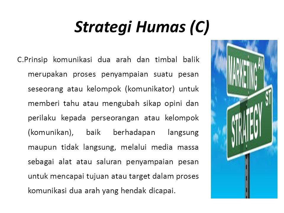Strategi Humas (C) C.Prinsip komunikasi dua arah dan timbal balik merupakan proses penyampaian suatu pesan seseorang atau kelompok (komunikator) untuk