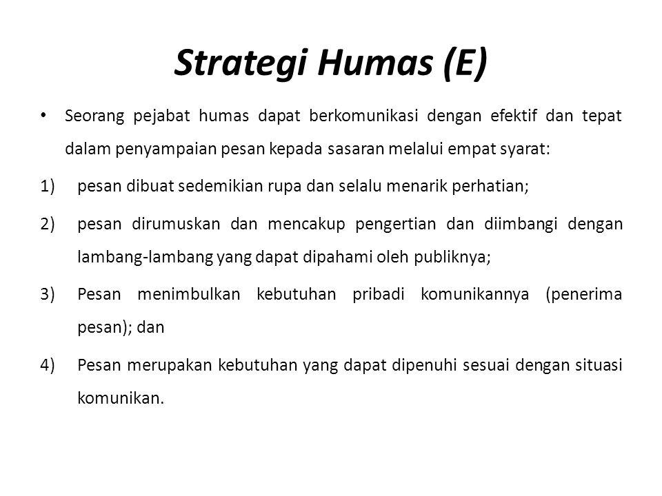 Strategi Humas (E) Seorang pejabat humas dapat berkomunikasi dengan efektif dan tepat dalam penyampaian pesan kepada sasaran melalui empat syarat: 1)p