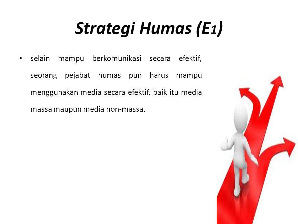 Strategi Humas (E 1 ) selain mampu berkomunikasi secara efektif, seorang pejabat humas pun harus mampu menggunakan media secara efektif, baik itu medi