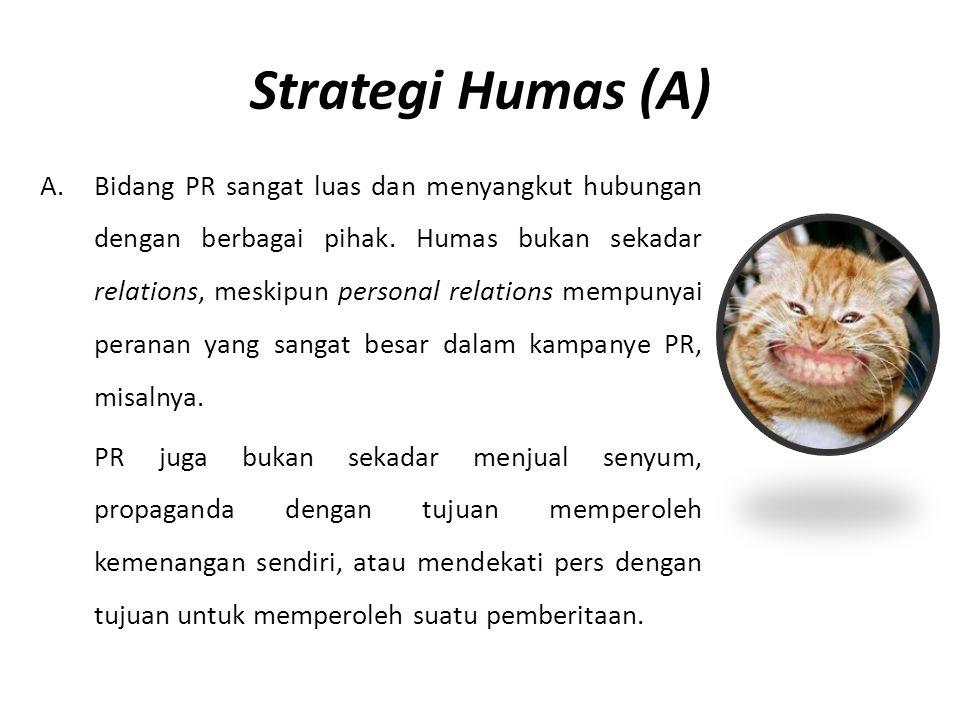 Strategi Humas (A) A.Bidang PR sangat luas dan menyangkut hubungan dengan berbagai pihak. Humas bukan sekadar relations, meskipun personal relations m