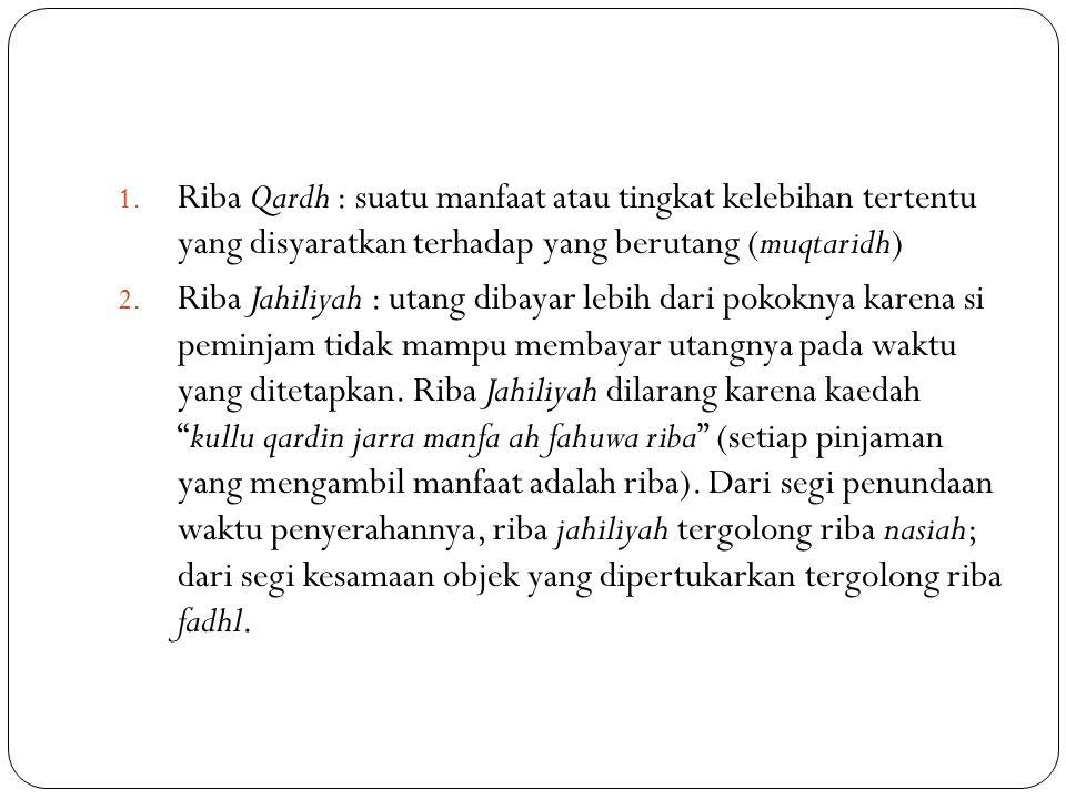 1. Riba Qardh : suatu manfaat atau tingkat kelebihan tertentu yang disyaratkan terhadap yang berutang (muqtaridh) 2. Riba Jahiliyah : utang dibayar le