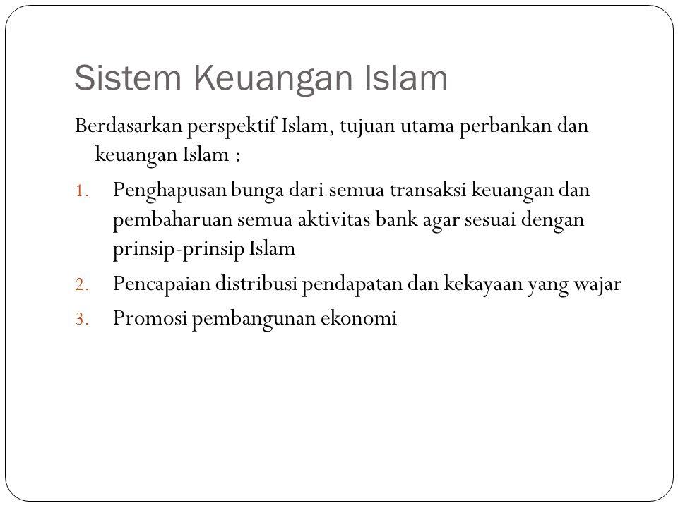 Sistem Keuangan Islam Berdasarkan perspektif Islam, tujuan utama perbankan dan keuangan Islam : 1. Penghapusan bunga dari semua transaksi keuangan dan