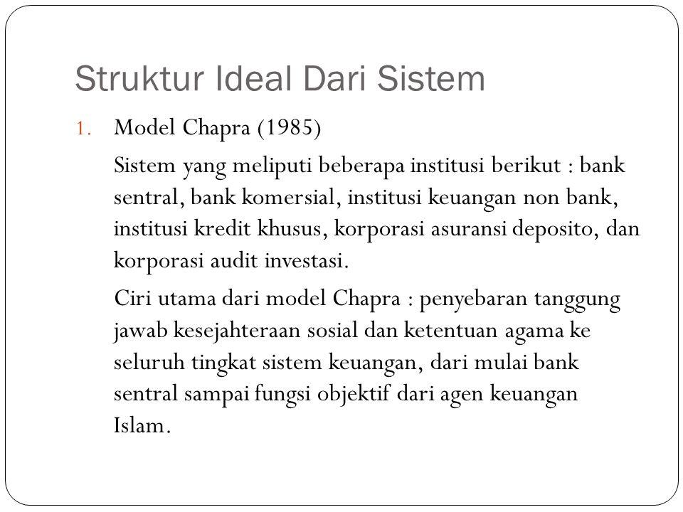 Struktur Ideal Dari Sistem 1. Model Chapra (1985) Sistem yang meliputi beberapa institusi berikut : bank sentral, bank komersial, institusi keuangan n