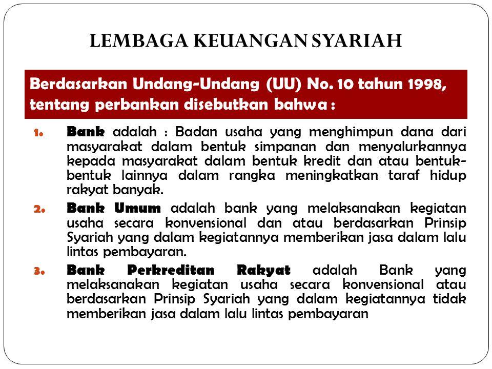 Berdasarkan Undang-Undang (UU) No. 10 tahun 1998, tentang perbankan disebutkan bahwa : 1. Bank adalah : Badan usaha yang menghimpun dana dari masyarak