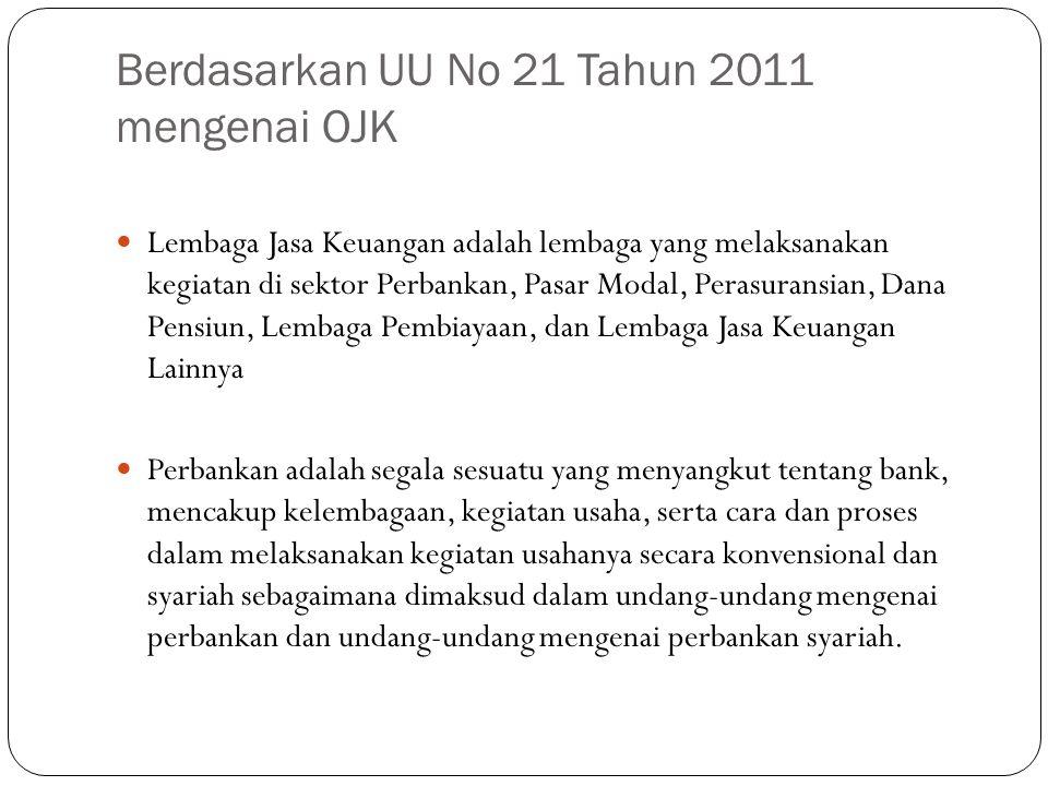Berdasarkan UU No 21 Tahun 2011 mengenai OJK Lembaga Jasa Keuangan adalah lembaga yang melaksanakan kegiatan di sektor Perbankan, Pasar Modal, Perasur