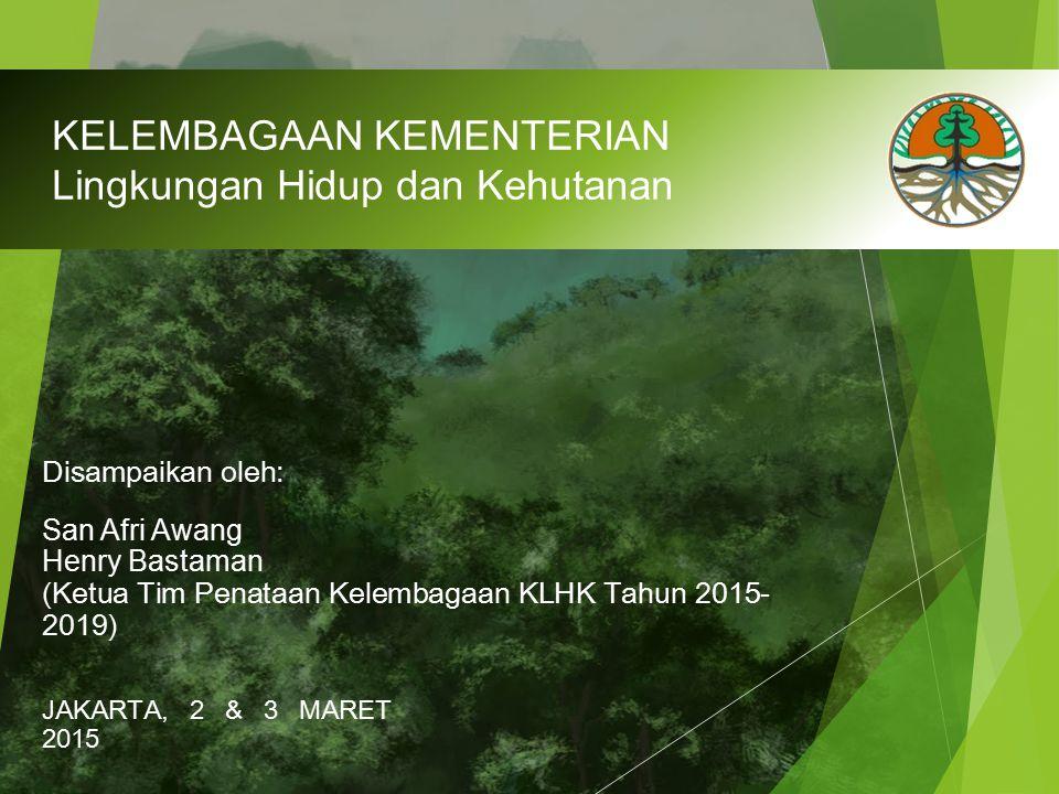 KELEMBAGAAN KEMENTERIAN Lingkungan Hidup dan Kehutanan JAKARTA, 2 & 3 MARET 2015 Disampaikan oleh: San Afri Awang Henry Bastaman (Ketua Tim Penataan K