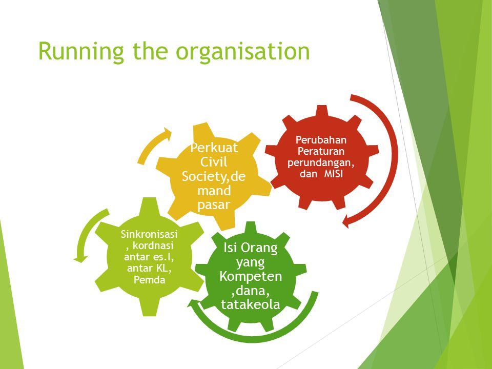 Running the organisation Isi Orang yang Kompeten,dana, tatakeola Sinkronisasi, kordnasi antar es.I, antar KL, Pemda Perkuat Civil Society,de mand pasa