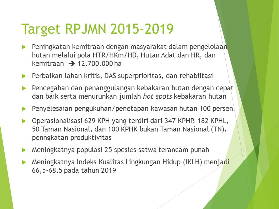 Target RPJMN 2015-2019  Peningkatan kemitraan dengan masyarakat dalam pengelolaan hutan melalui pola HTR/HKm/HD, Hutan Adat dan HR, dan kemitraan  1