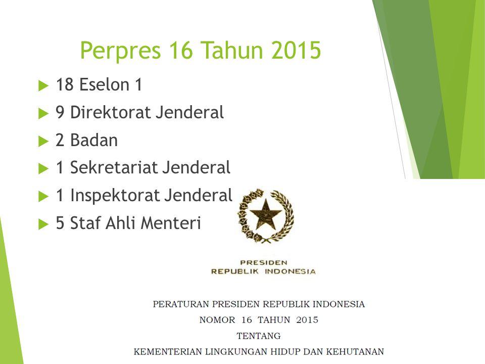 Perpres 16 Tahun 2015  18 Eselon 1  9 Direktorat Jenderal  2 Badan  1 Sekretariat Jenderal  1 Inspektorat Jenderal  5 Staf Ahli Menteri