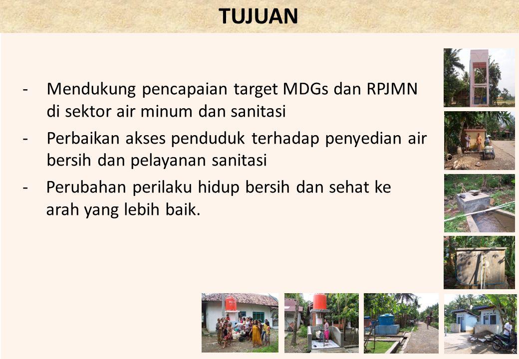 TUJUAN -Mendukung pencapaian target MDGs dan RPJMN di sektor air minum dan sanitasi -Perbaikan akses penduduk terhadap penyedian air bersih dan pelaya