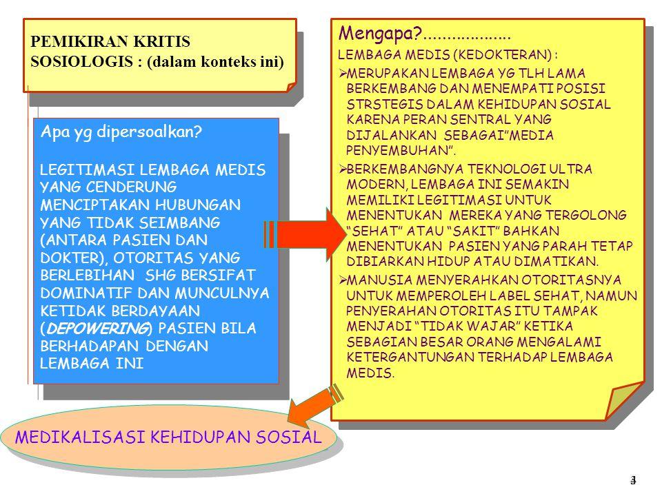Teori-teori yang dihasilkan PENDEKATAN YANG TERAKHIR BELUM BGT POPULER DI INDONESIA, NAMUN AKAN DIGUNAKAN SEBAGAI ANALISIS DALAM UPAYA MEMAHAMI EKSISTENSI LEMBAGA MEDIS 1.FUNGIONASLIME SIMBOLIK 2.FENOMENALISME 3.KRITIS (CRITICAL SOCIOLOGIY) 3