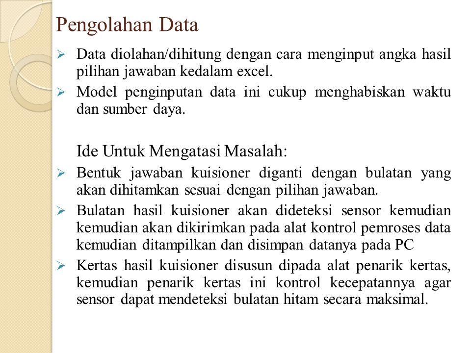 Pengolahan Data  Data diolahan/dihitung dengan cara menginput angka hasil pilihan jawaban kedalam excel.  Model penginputan data ini cukup menghabis