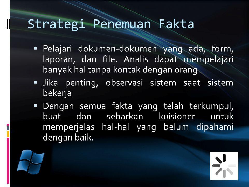Strategi Penemuan Fakta  Pelajari dokumen-dokumen yang ada, form, laporan, dan file. Analis dapat mempelajari banyak hal tanpa kontak dengan orang. 