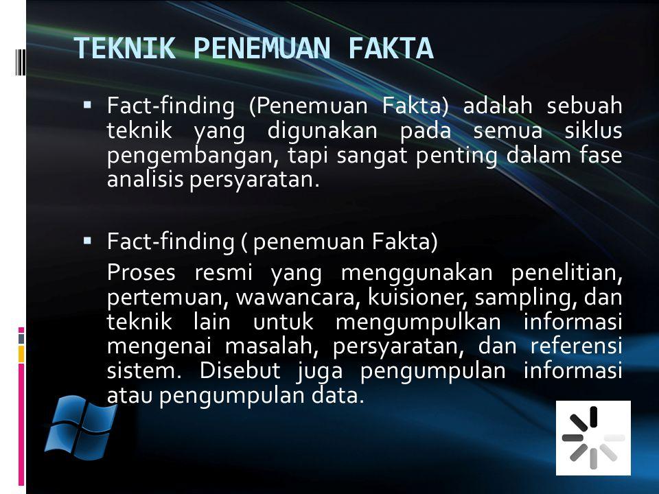  Fact-finding (Penemuan Fakta) adalah sebuah teknik yang digunakan pada semua siklus pengembangan, tapi sangat penting dalam fase analisis persyaratan.