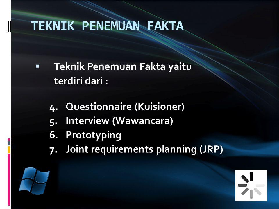 TEKNIK PENEMUAN FAKTA  Teknik Penemuan Fakta yaitu terdiri dari : 4.Questionnaire (Kuisioner) 5.Interview (Wawancara) 6.Prototyping 7.Joint requirements planning (JRP)