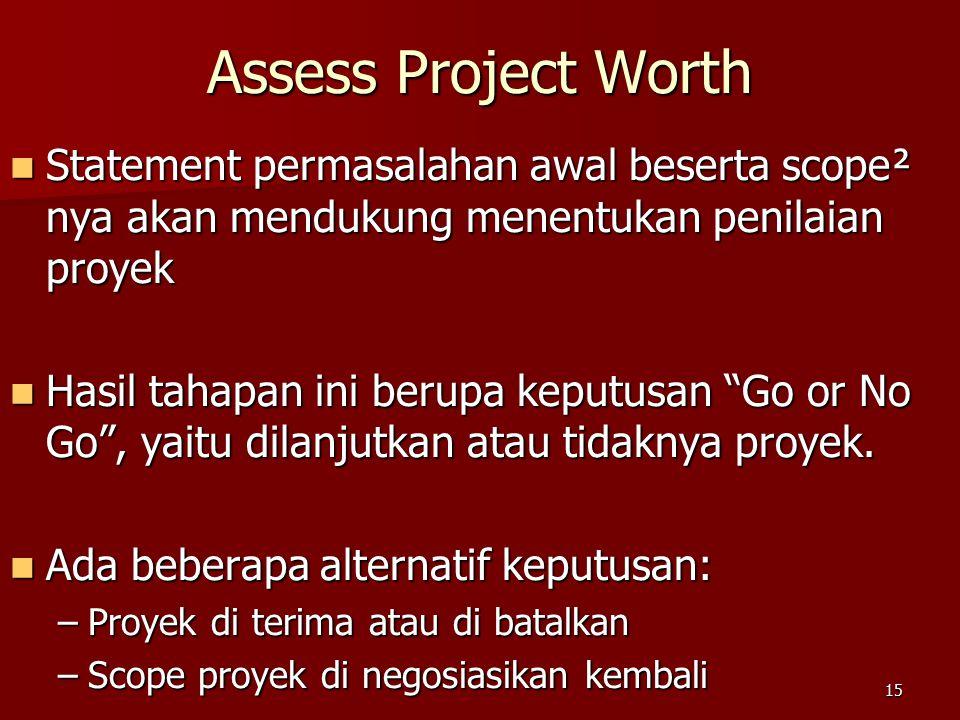 15 Assess Project Worth Statement permasalahan awal beserta scope² nya akan mendukung menentukan penilaian proyek Statement permasalahan awal beserta