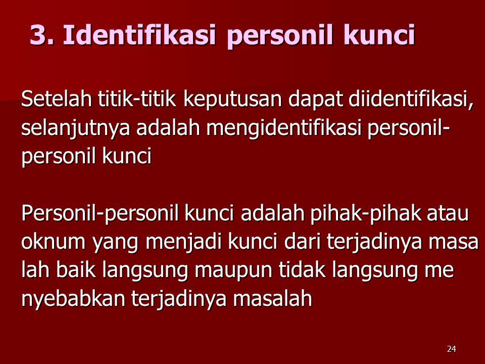 24 3. Identifikasi personil kunci Setelah titik-titik keputusan dapat diidentifikasi, selanjutnya adalah mengidentifikasi personil- personil kunci Per