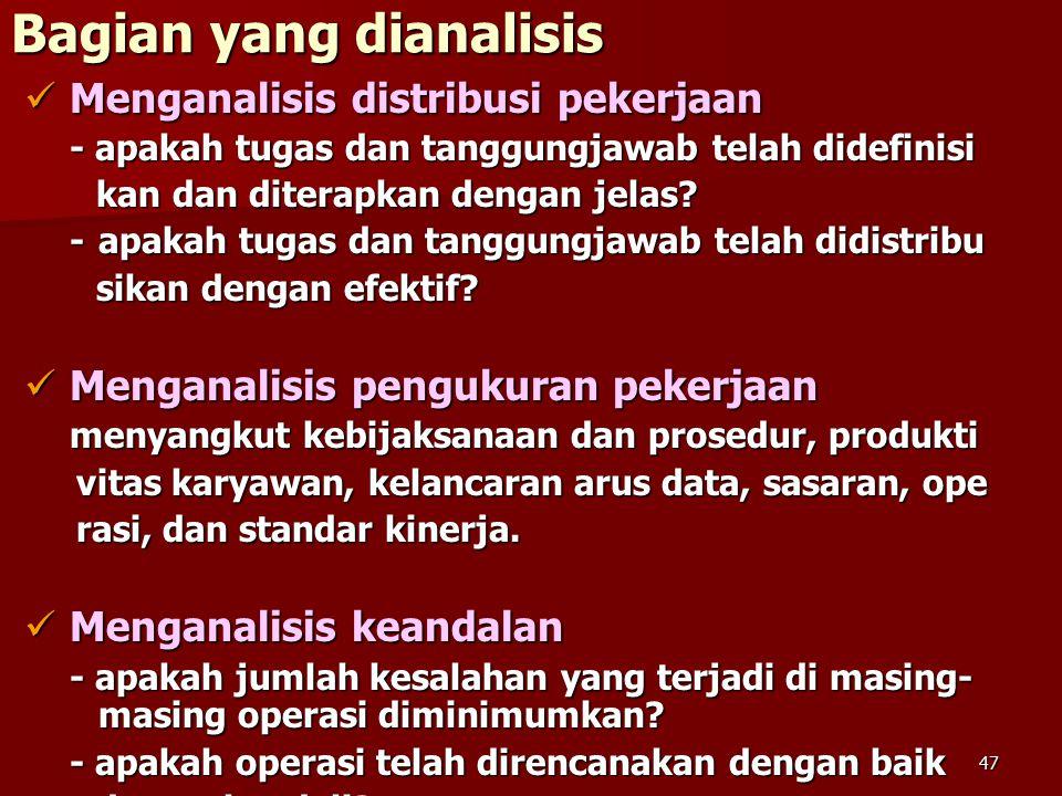 47 Bagian yang dianalisis Menganalisis distribusi pekerjaan Menganalisis distribusi pekerjaan - apakah tugas dan tanggungjawab telah didefinisi kan dan diterapkan dengan jelas.