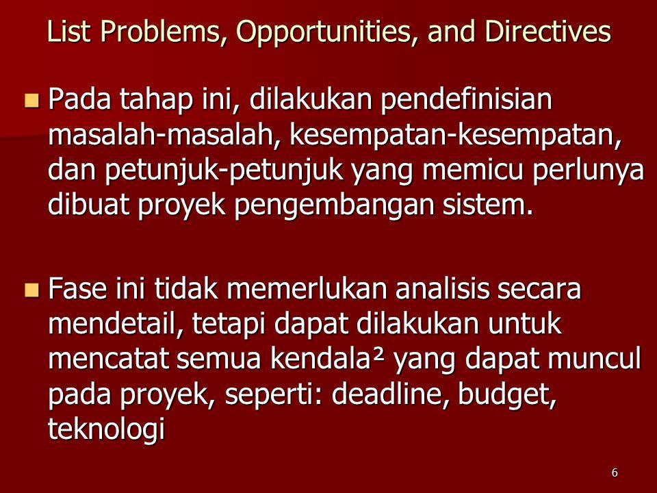 6 Pada tahap ini, dilakukan pendefinisian masalah-masalah, kesempatan-kesempatan, dan petunjuk-petunjuk yang memicu perlunya dibuat proyek pengembangan sistem.