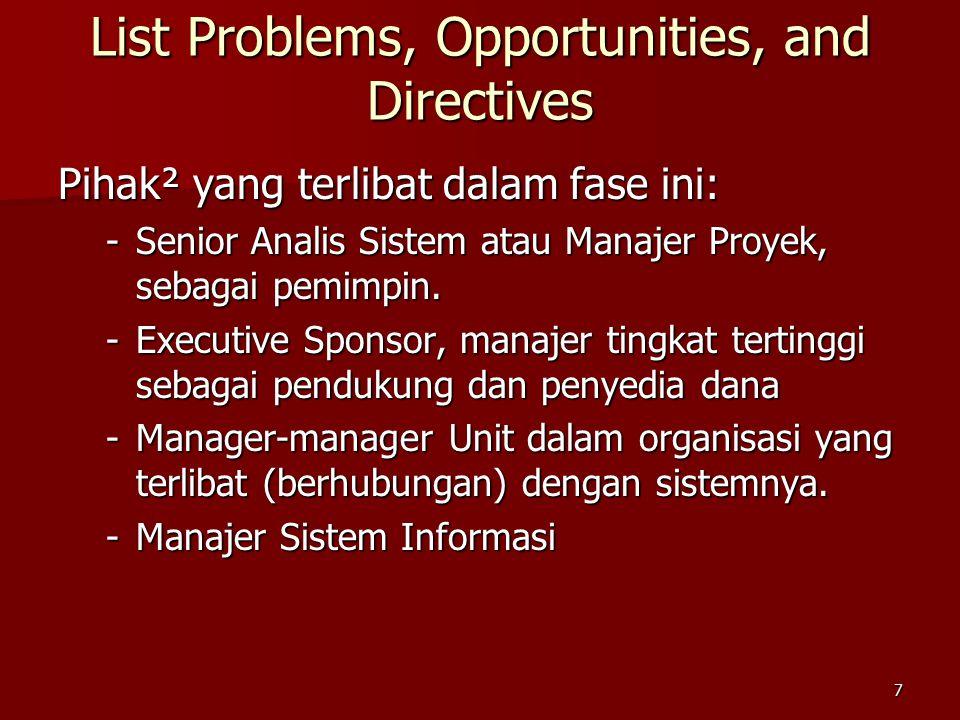 7 Pihak² yang terlibat dalam fase ini: -Senior Analis Sistem atau Manajer Proyek, sebagai pemimpin. -Executive Sponsor, manajer tingkat tertinggi seba