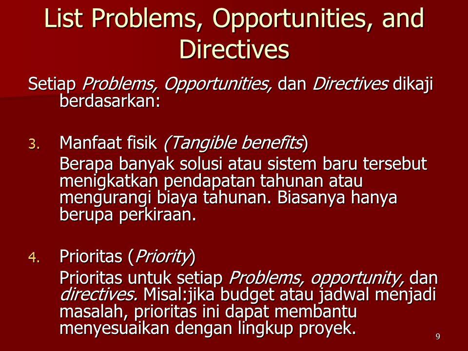 9 Setiap Problems, Opportunities, dan Directives dikaji berdasarkan: 3. Manfaat fisik (Tangible benefits) Berapa banyak solusi atau sistem baru terseb