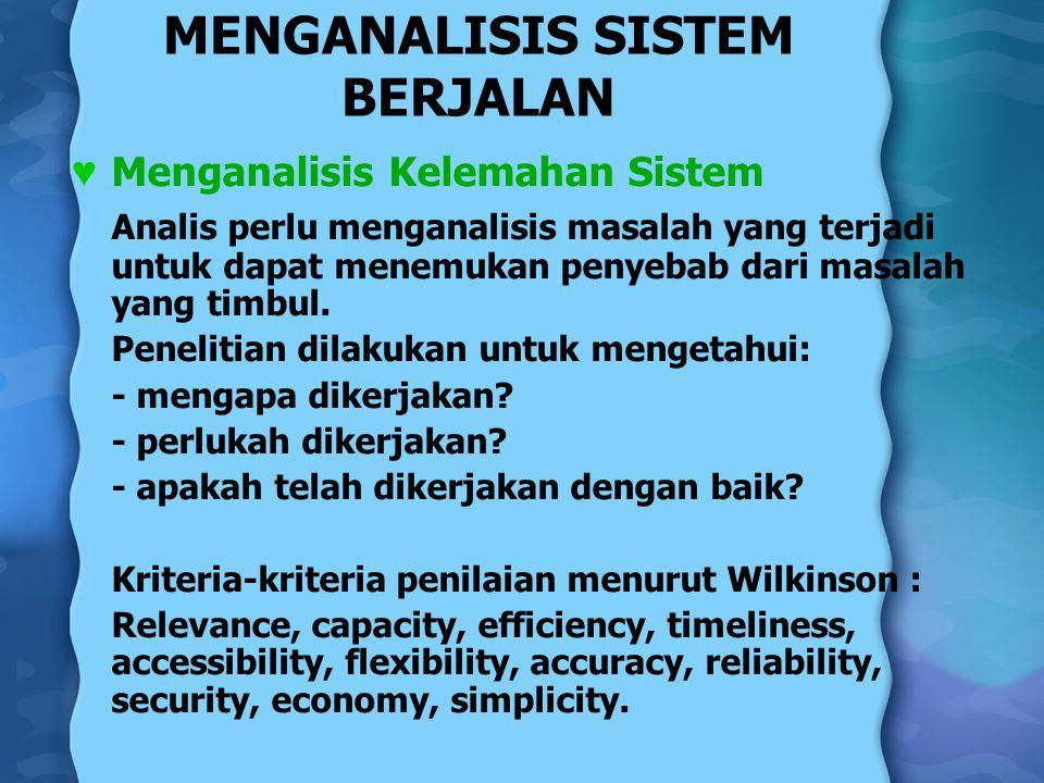 MENGANALISIS SISTEM BERJALAN ♥ Menganalisis Kelemahan Sistem Analis perlu menganalisis masalah yang terjadi untuk dapat menemukan penyebab dari masala