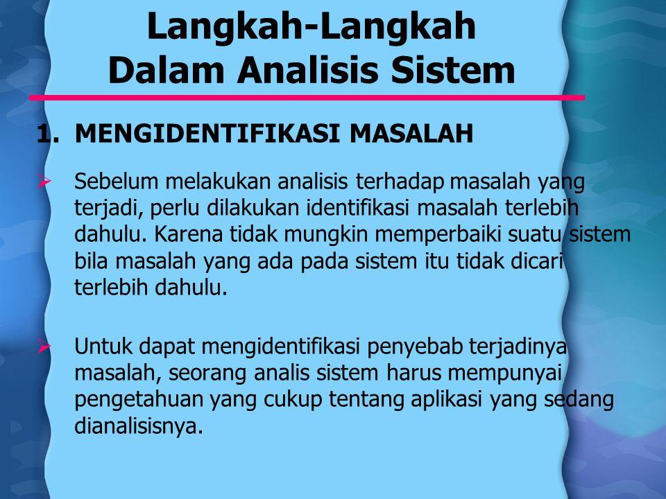Langkah-Langkah Dalam Analisis Sistem 1.MENGIDENTIFIKASI MASALAH  Sebelum melakukan analisis terhadap masalah yang terjadi, perlu dilakukan identifik