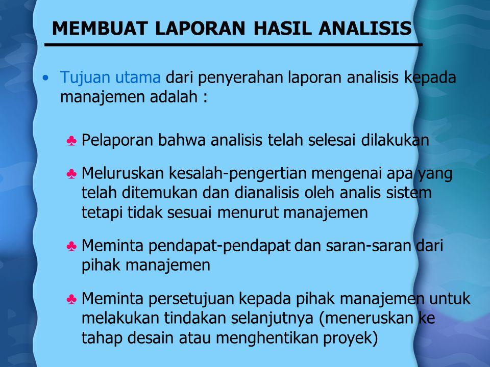 MEMBUAT LAPORAN HASIL ANALISIS Tujuan utama dari penyerahan laporan analisis kepada manajemen adalah : ♣ Pelaporan bahwa analisis telah selesai dilaku