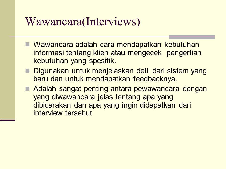 Wawancara(Interviews) Wawancara adalah cara mendapatkan kebutuhan informasi tentang klien atau mengecek pengertian kebutuhan yang spesifik. Digunakan